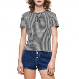 T-Shirt rayé Calvin Klein noir blanc