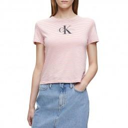 T-Shirt rayé Calvin Klein rose blanc