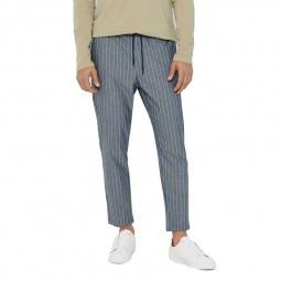 Pantalon rayé Only & Sons Linus Crop rayé bleu blanc