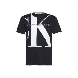 T-shirt Calvin Klein noir logo monogramme CK blanc