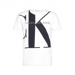 T-shirt Calvin Klein blanc logo monogramme CK noir