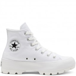 Converse plateforme toile montantes blanches