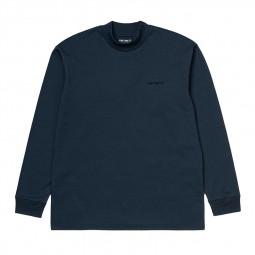 T-shirt manches longues Carhartt Mockneck Script bleu foncé