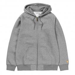 Sweat zippé à capuche Carhartt WIP Chase gris chiné