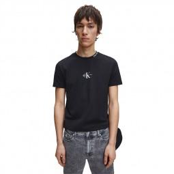 T-shirt Calvin Klein noir logo CK blanc