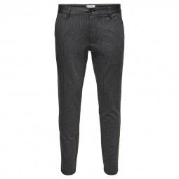 Pantalon Only & Sons rayé gris