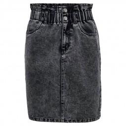Jupe en jean taille haute Only noir délavé