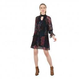 Robe courte imprimé à fleurs Molly Bracken noir