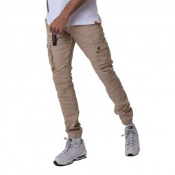 Pantalon cargo slim Project X Paris beige