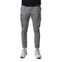 Pantalon cargo slim Project X Paris carreaux écossais