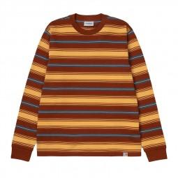 T-shirt manches longues Carhartt Buren rayé marron jaune