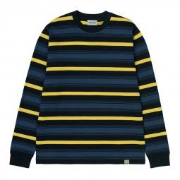 T-shirt manches longues Carhartt Buren rayé bleu jaune