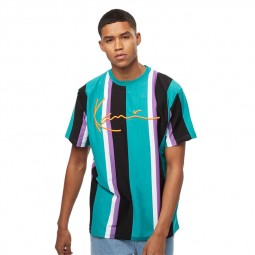T-shirt à rayures Karl Kani bleu violet