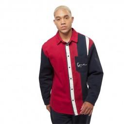 Chemise à rayures Karl Kani bleu marine rouge