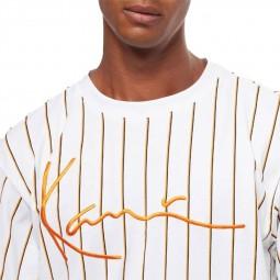 T-shirt rayé Karl Kani Signature Pinstripe blan orange