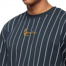 T-shirt rayé Karl Kani Signature Pinstripe noir blanc