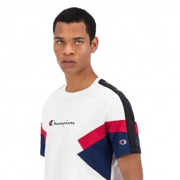 T-shirt Champion color block blanc rouge bleu