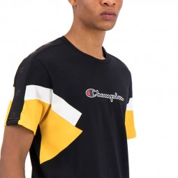 T-shirt Champion color block noir jaune