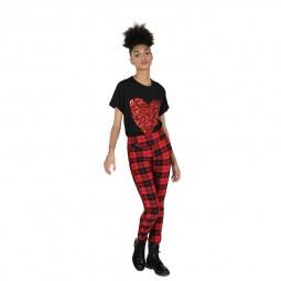 Pantalon legging à carreaux Lili Sidonio rouge noir