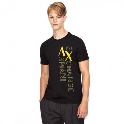 T-shirt col rond Armani Exchange noir logo jaune