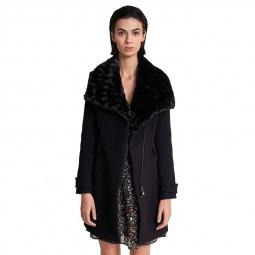 Manteau Salsa col fourrure noir