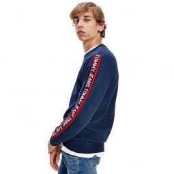 Pull bande logos Tommy Jeans bleu marine