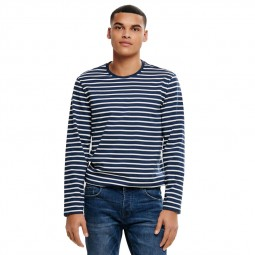 T shirt Only & Sons manches longues rayé bleu marine