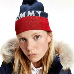 Bonnet à pompon Tommy Jeans bleu marine