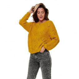 Pull texture en maille jaune Only femme