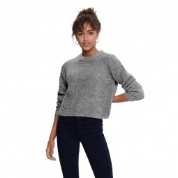 Pull manches longues Only femme gris chiné clair