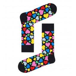 Chaussettes Happy Socks Heart noir coeurs multicolores