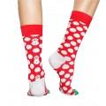 Chaussettes Happy Socks Big Dot Snowman rouge bonhomme de neige