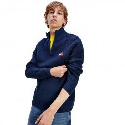 Pull côtelé zippé Tommy Jeans bleu marine