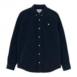 Chemise velours côtelé Carhartt Madison Cord Shirt bleu marine