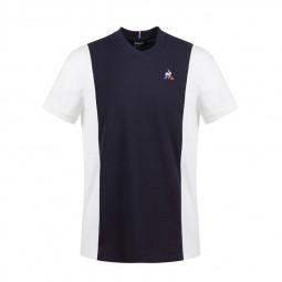 T-shirt Le Coq Sportif Bicolore bleu marine blanc