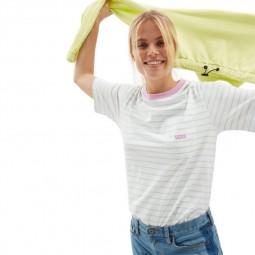 T-Shirt manches courtes Vans Mini Stripe Pocket blanc rayé