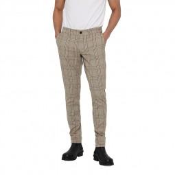 Pantalon Only & Sons à carreaux beige