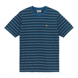 T-shirt manches courtes Carhartt Akron bleu rayé