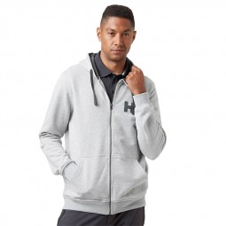 Sweat capuche zippé Helly Hansen gris chiné