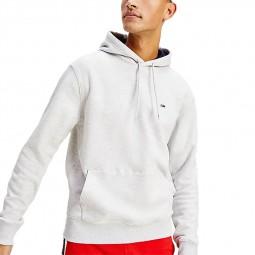 Sweat à capuche Tommy Jeans 0211 écru chiné logo signature