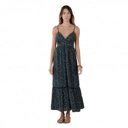 Robe longue fines bretelles Molly Bracken bleu marine floral
