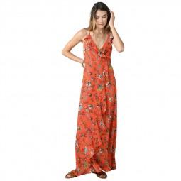 Robe longue dos lacé Molly Bracken orange