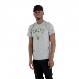 T-shirt New Era Milwaukee Bucks gris