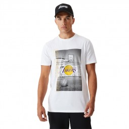 T-shirt photo New Era Los Angeles Lakers blanc