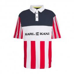 Polo Karl Kani Retro Block Stripe rayures rouge blanc
