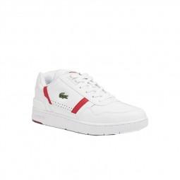 Chaussure Lacoste T-Clip blanc rouge