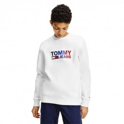 Sweat Tommy Jeans blanc logo dégradé