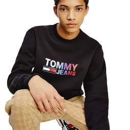 Sweat Tommy Jeans noir logo dégradé