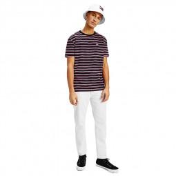T-shirt à rayures Tommy Jeans noir rose blanc