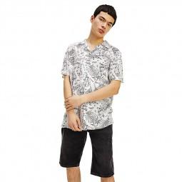 Chemisette Tommy Jeans Miami Camp Shirt blanc noir